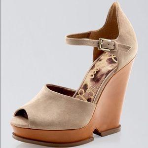 Sam Edelman ankle strap wedge sandals peep toe